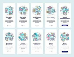 Online marketplace onboarding mobile app page screens set. E-commerce services walkthrough 5 steps graphic instructions with concepts. UI, UX, GUI vector template with linear color illustrations