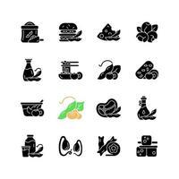 iconos de glifos negros de alimentos de soja en espacio en blanco. preparación de comidas saludables. tipos de productos vegetarianos. snacks a base de plantas. fuente de nutrientes. símbolos de silueta. vector ilustración aislada
