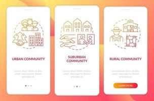 Population types onboarding mobile app page screen with concepts. Urban, suburban communities walkthrough 3 steps graphic instructions. UI, UX, GUI vector template with linear color illustrations