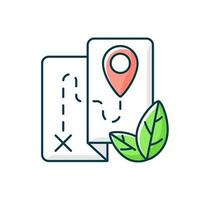 Ecotourism RGB color icon. Ethical and responsible trip. Eco friendly journey. Point of destination. Isolated vector illustration. Travel industry sustainability simple filled line drawing