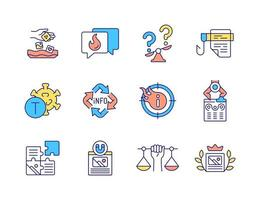 Viral marketing RGB color icons set. Multimedia content. Hooking readers attention. Creating blog post. Isolated vector illustrations. Hot topics in social media simple filled line drawings collection