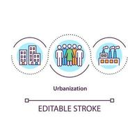 Urbanization concept icon. Population migration from rural to urban areas. Society improvement abstract idea thin line illustration. Vector isolated outline color drawing. Editable stroke