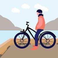 sport biker man in the beach vector