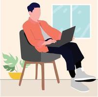 business man with laptop indoor vector
