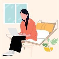 girl study for business indoor vector