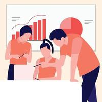 Flat Illustration Meeting with the team to advance the company in the fast-paced digital world, such as focusing on marketing to social media vector