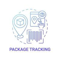 Package tracking concept icon. International parcel location checking abstract idea thin line illustration. Real-time following. Online retail service. Vector isolated outline color drawing
