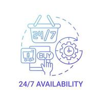 24 7 availability concept icon. Online marketplace benefit abstract idea thin line illustration. Virtual shopping mall. Making buying decisions at any time. Vector isolated outline color drawing