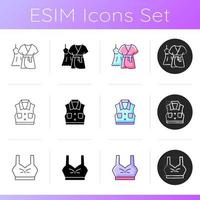 Comfortable clothing icons set. Gown and robe. Denim jacket. Sporty bra top. Female outfits. Comfy nightwear. Trendy clothing. Linear, black and RGB color styles. Isolated vector illustrations