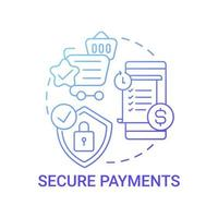 Secure payments concept icon. Global marketplaces service abstract idea thin line illustration. Safe buying and selling products. Credit card details protection. Vector isolated outline color drawing
