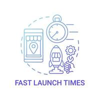 Fast launch times concept icon. Online marketplace benefit abstract idea thin line illustration. Selling products online. Custom-built website process. Vector isolated outline color drawing