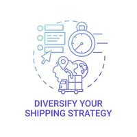 Diversify shipping strategy concept icon. Online marketplace success tip abstract idea thin line illustration. Diversifying suppliers. E-commerce delivery. Vector isolated outline color drawing