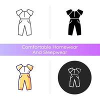 Jumpsuit icon. Female outfit. Women sportswear. Trendy clothes for ladies. Stylish garment. Comfortable homewear and sleepwear. Linear black and RGB color styles. Isolated vector illustrations