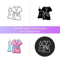 Mini gown with robe icon. Female sleepwear. Women nightwear. Ladies lace dress for sleep. Comfortable homewear and sleepwear. Linear black and RGB color styles. Isolated vector illustrations