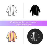 Long cardigan icon. Oversized trendy jacket. Unisex stylish outfit. Comfy wear for home. Comfortable homewear and sleepwear. Linear black and RGB color styles. Isolated vector illustrations