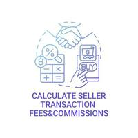 Calculate seller transaction fees and commissions concept icon. Selling goods abstract idea thin line illustration. Handling fee. Bank processing, shipping costs. Vector isolated outline color drawing