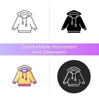 Home outfit with hoodie icon. Hooded unisex jacket. Sporty outfit. Unisex sportswear. Comfortable homewear and sleepwear. Linear black and RGB color styles. Isolated vector illustrations