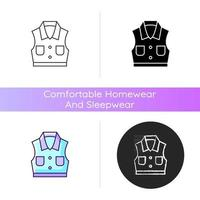 Denim vest icon. Jacket with pockets. Unisex shirt. Sleeveless top. Fashionable outfit. Comfortable homewear and sleepwear. Linear black and RGB color styles. Isolated vector illustrations