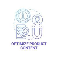 Optimize product content concept icon. Online marketplace abstract idea thin line illustration. Driving traffic for best sales. Click-through rates improvement. Vector isolated outline color drawing