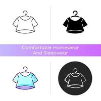 Crop top icon. Short for women. Unisex comfy wear. Outfit for home lounging. T shirt. Comfortable homewear and sleepwear. Linear black and RGB color styles. Isolated vector illustrations