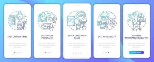 Online retailing advantages onboarding mobile app page screen. Internationalization walkthrough 5 steps graphic instructions with concepts. UI, UX, GUI vector template with linear color illustrations