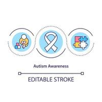 Autism awareness concept icon. Helping people with special disabilities. Mental disorder abstract idea thin line illustration. Vector isolated outline color drawing. Editable stroke