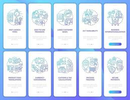 E-marketplace onboarding mobile app page screens set. Selling goods online walkthrough 5 steps graphic instructions with concepts. UI, UX, GUI vector template with linear color illustrations