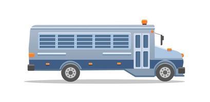autobús prisión azul grisáceo. ilustración vectorial de color plano aislado sobre fondo blanco. vector