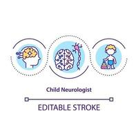 Child neurologist concept icon. Treating children from disease. Proffesional medical help for kids abstract idea thin line illustration. Vector isolated outline color drawing. Editable stroke
