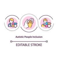 Autistic people inclusion concept icon. Communicational problems. Social interaction issues abstract idea thin line illustration. Vector isolated outline color drawing. Editable stroke