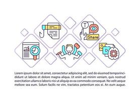 Popular media concept line icons with text. PPT page vector template with copy space. Brochure, magazine, newsletter design element. Viral content sharing linear illustrations on white