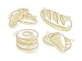 Establecer ilustración plana de pan para elementos de marca y logotipo vector