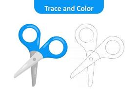 Trace and color for kids, scissors vector