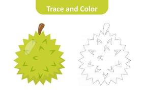 Trace and color for kids, durian vector