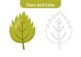 Trace and color for kids, leaf vector