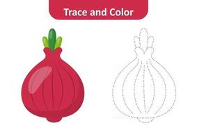 Trace and color for kids, red onion vector
