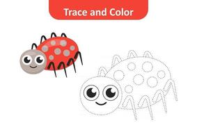 Trace and color for kids, spider vector