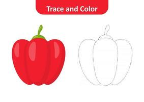 Trace and color for kids, bell pepper vector