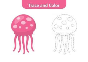Trace and color for kids, jellyfish vector