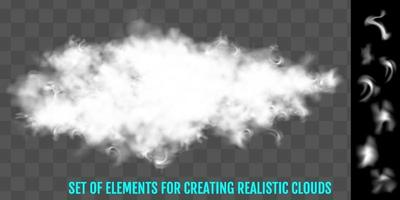 Steam fog smoke clouds  a set of elements to create vector