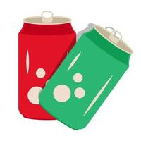 Two flat color icon a soda can or drinks cold can for apps and websites vector