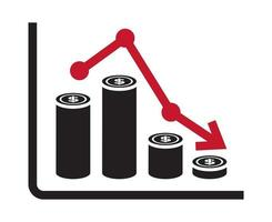 Recession or stock market crash flat icon with graph chart for apps or websites vector