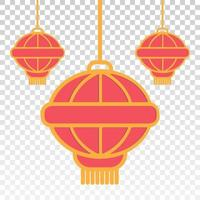Flat color icon the hanging chinese lantern isolated on the transparent backgrounds vector