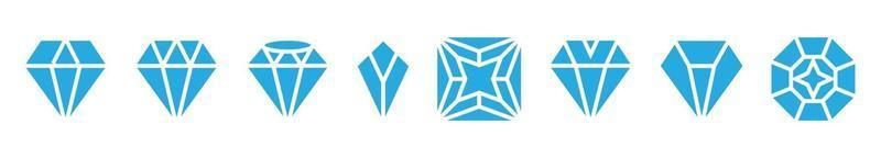 Set of a diamond flat color icon for apps or websites vector