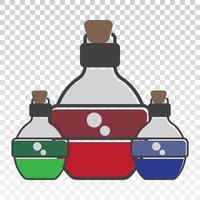Flat vector icon the three magic mana potion bottle for apps or websites