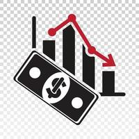 Flat icon a recession or stock market crash with downtrend chart isolated on currency vector