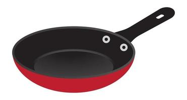 Frying pan skillet flat color icon for apps and websites vector