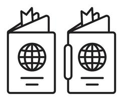 International travel passport booklet line art icon for apps and websites vector