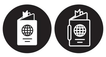 Rounded International travel passport booklet icon for apps and websites vector