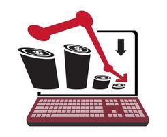 Flat icon a recession or stock market crash with red arrow and chart isolated on the notebook vector